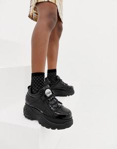 Черные лакированные кроссовки на платформе Buffalo London-Черный