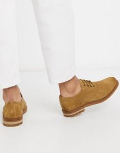 Бежевые замшевые туфли на шнуровке Clarks-Бежевый