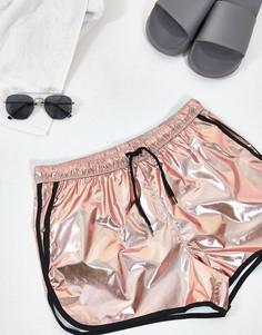Золотистые шорты для плавания с контрастной отделкой ASOS DESIGN-Розовый