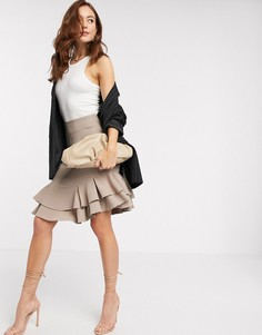 Светло-бежевая мини-юбка с оборками Closet-Кремовый