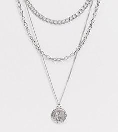 Серебристое ожерелье-цепочка с крупными звеньями в несколько рядов ASOS DESIGN Curve-Серебряный