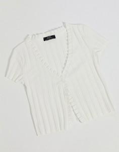 Белая футболкав рубчик с оборкой по краю Bershka-Белый