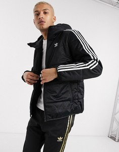 Черный пуховик с 3 полосками adidas Originals