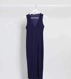 Темно-синее платье миди с глубоким вырезомFashionkilla Maternity-Темно-синий