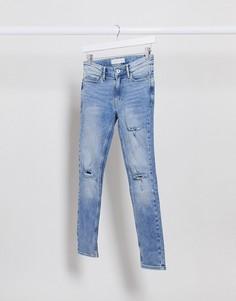 Рваные обтягивающие джинсы Topman-Синий