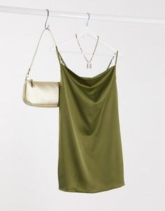 Атласное платье на бретелях со свободным воротом Missguided-Зеленый