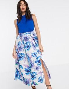 Платье с принтом на юбке Closet London-Мульти