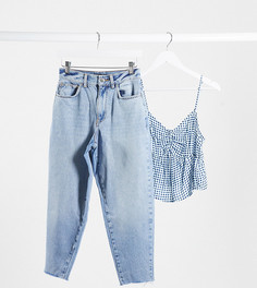 Светлые джинсы бойфренда с завышенной талией ASOS DESIGN Petite-Синий