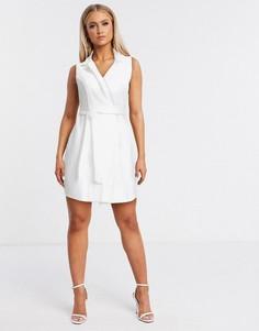 Кремовое платье-смокинг мини с запахом Flounce London-Кремовый