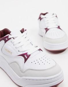 Белые кожаные кроссовки со вставками колор блок Lacoste-Белый