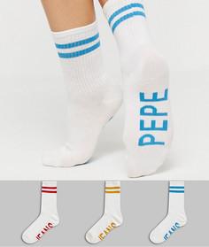 Набор из 3 пар носков в рубчик с логотипом Pepe Jeans-Мульти