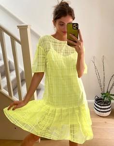 Платье мини из органзы в клетку с заниженной талией Lost Ink-Желтый