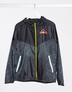 Черная куртка на молнии с логотипом Nike Running Trail-Черный