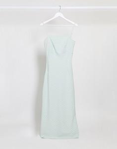Зеленое платье макси в клетку Vila-Зеленый
