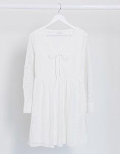 Белое платье с кружевом и шнуровкой Vila-Белый