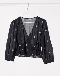 Черная блузка с запахом и цветочной вышивкой Pimkie-Черный