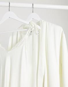 Светлая свадебная ночная рубашка с кружевом Lindex-Белый