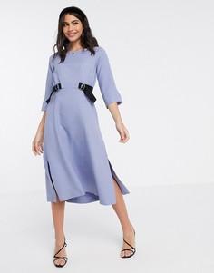 Платье миди лавандового цвета с завязками Closet London-Фиолетовый