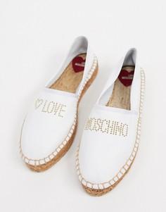 Белые эспадрильи на плоской подошве с отделкой Love Moschino-Белый
