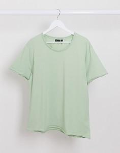 Зеленая свободная футболка с необработанными краями ASOS DESIGN-Зеленый