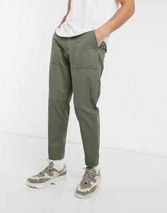 Суженные брюки из органического хлопка в стиле милитари Selected Homme-Зеленый