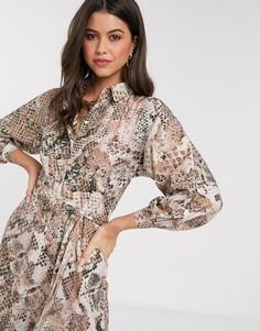 Платье-рубашка с рукавами-кимоно и светлым змеиным принтом Closet-Бежевый