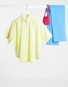 Желтая поплиновая рубашка oversize Monki-Желтый