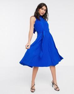 Приталенное платье с высоким воротником Closet London-Синий