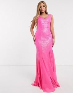 Розовое платье макси с пайетками Goddiva-Розовый