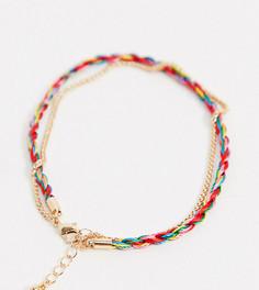 Разноцветный браслет на ногу с золотистой цепочкой ASOS DESIGN Curve-Золотой