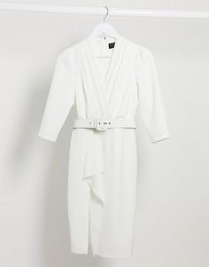 Платье-смокинг миди цвета слоновой кости с оборкойPaper Dolls-Белый