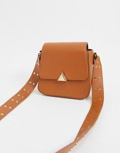 Сумка из искусственной кожи с ремешком через плечо и заклепками Truffle Collection-Оранжевый