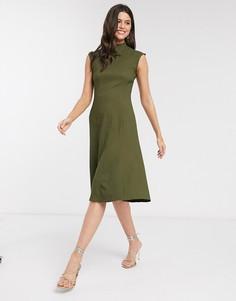 Расклешенное платье цвета хаки Closet-Зеленый