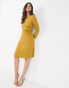 Платье миди А-силуэта горчичного цвета Closet-Желтый