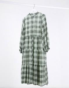 Зеленое свободное платье миди в клетку Minimum-Зеленый