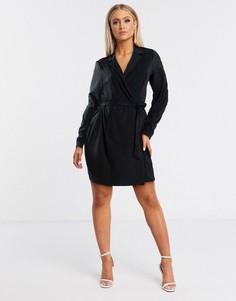Черное платье мини-смокинг с запахом Flounce London-Черный
