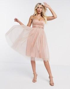 Платье с открытыми плечами Rare London-Бежевый