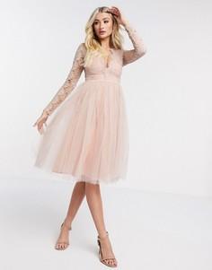 Платье миди из тюля с длинными рукавами Rare London-Розовый