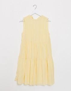 Свободное платье миди желтого цвета Vila-Желтый