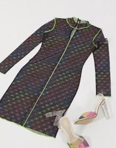 Сетчатое платье мини с принтом логотипа Missguided-Мульти