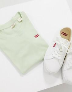 Шалфейно-зеленая футболка в стиле 90-х с логотипом Levis Perfect-Зеленый