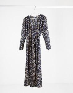 Темно-синее платье миди в горошек Minimum-Темно-синий