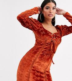 Бархатное платье рыжего цвета со шнуровкой ASOS DESIGN Petite-Красный