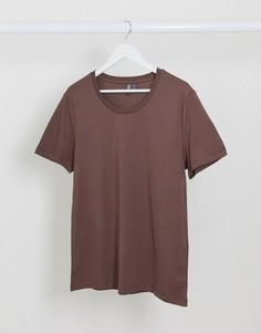 Коричневая футболка с овальным вырезом ASOS DESIGN-Коричневый