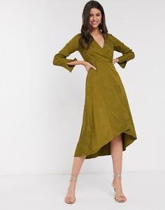 Оливково-зеленое платье миди с запахом Closet-Зеленый