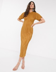 Плиссированное платье миди горчичного цвета Closet-Желтый