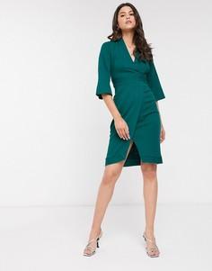 Зеленое платье с запахом и вставками Closet-Зеленый