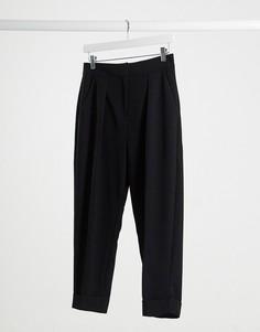 Черные строгие брюки с отворотами Closet-Черный