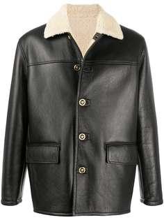 Versace куртка с воротником из овчины