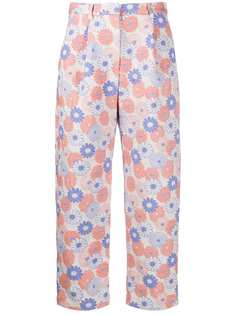 Kenzo укороченные брюки с цветочной вышивкой